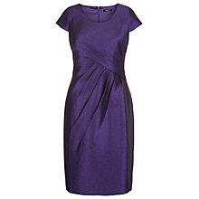 Buy Precis Petite Crinkle Ruched Detail Shift Dress, Purple Online at johnlewis.com