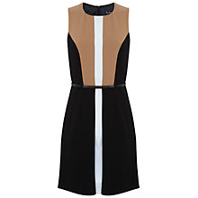 Buy Miss Selfridge Colourblock Belted Dress, Black/Camel Online at johnlewis.com