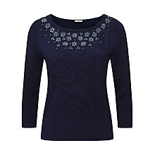 Buy Jacques Vert Embellished Jumper, Navy Online at johnlewis.com