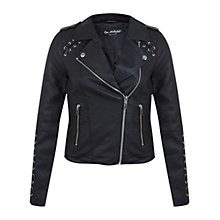 Buy Miss Selfridge Biker Jacket, Black Online at johnlewis.com