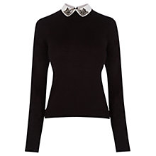 Buy Oasis Embellished Collar Jumper, Black Online at johnlewis.com