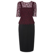Buy L.K. Bennett Isolde Peplum Dress, Black/Cherry Online at johnlewis.com