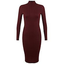 Buy Miss Selfridge Rib Midi Dress, Burgundy Online at johnlewis.com