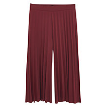 Buy Mango Pleated Capri Trousers, Dark Red Online at johnlewis.com