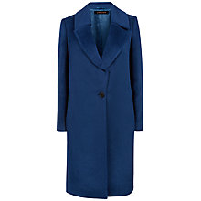 Buy Jaeger Alpaca Wool Blend Crombie Coat, Ocean Blue Online at johnlewis.com