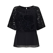 Buy Phase Eight Shivani Devore Blouse, Black Online at johnlewis.com