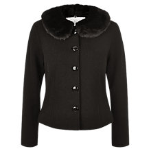 Buy Kaliko Faux Fur Collar Wool Jacket, Black Online at johnlewis.com