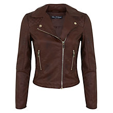 Buy Miss Selfridge Ruby Biker Jacket, Mid Brown Online at johnlewis.com