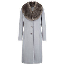 Buy Kaliko Single Breasted Faux Fur Collar Coat, Mid Grey Online at johnlewis.com