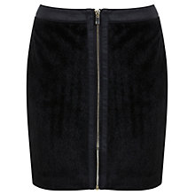 Buy Miss Selfridge Faux Pony Hair Zip Front Skirt, Black Online at johnlewis.com