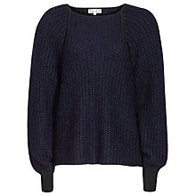 Buy Reiss Mezard Contrast Stitch Jumper, Night Navy Online at johnlewis.com