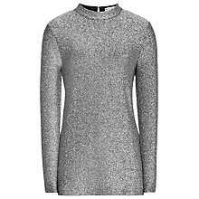 Buy Reiss Shimmer Glitter Jersey Top, Pewter Online at johnlewis.com