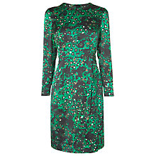 Buy L.K. Bennett Idris Rouched Silk Dress, Green Online at johnlewis.com