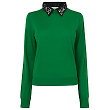 Buy L.K. Bennett Lourdes Embellished Collar Jumper, Green Online at johnlewis.com
