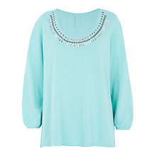 Buy Windsmoor Embellished Jumper, Light Turquoise Online at johnlewis.com