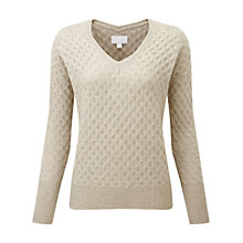 Buy Pure Collection Underwood Purist Undyed Cashmere Textured Jumper, Natural Online at johnlewis.com
