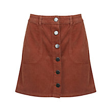 Buy Miss Selfridge Corduroy A-Line Mini Skirt, Rust Online at johnlewis.com