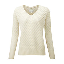 Buy Pure Collection Tait Purist Undyed Cashmere Textured Jumper, Pure White Online at johnlewis.com