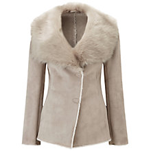 Buy Pure Collection Hampton Faux Shearling Jacket, Stone Online at johnlewis.com