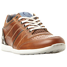 Buy Dune Tyson Perforated Leather Trainers, Tan Online at johnlewis.com