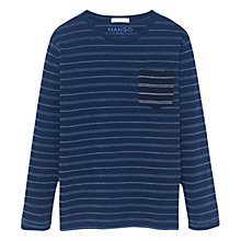 Buy Mango Kids Boys' Stripe Pocket T-Shirt, Blue Online at johnlewis.com