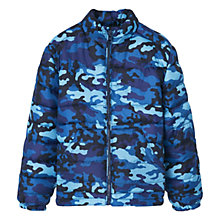 Buy Mango Kids Boys' Camo Puffer Jacket, Blue Online at johnlewis.com