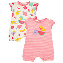 Buy John Lewis Baby Bird Fruit Romper Sleepsuits, Pack of 2, Pink Online at johnlewis.com