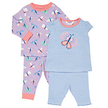 Buy John Lewis Baby Butterfly Pyjamas, Pack of 2, Lilac/Blue Online at johnlewis.com