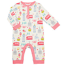 Buy John Lewis Baby London Picnic Sleepsuit, Pink Online at johnlewis.com