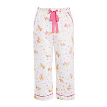 Buy John Lewis Vintage Floral Cropped Pyjama Pants, White/Pink Online at johnlewis.com