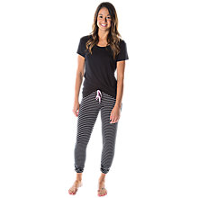 Buy Splendid Stripe Pyjama Set, Black/Grey Online at johnlewis.com
