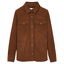 Buy Mango Kids Girls' Faux Leather Overshirt, Brown Online at johnlewis.com