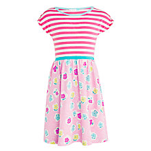 Buy John Lewis Girls' Floral and Stripe Dress, Pink Online at johnlewis.com