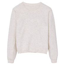 Buy Mango Kids Girls' Heart Embroidered Jumper, Beige Online at johnlewis.com