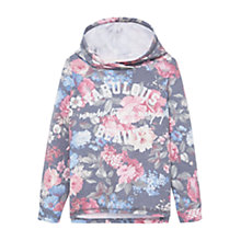 Buy Mango Kids Girls' Floral Print Hooded Sweatshirt, Grey Online at johnlewis.com