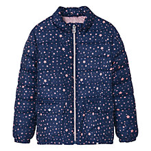 Buy Mango Kids Girls' Water Repellent Star Quilt Coat, Navy Online at johnlewis.com