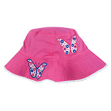 Buy John Lewis Butterfly Embroidered Reversible Sun Hat, Pink/Blue Online at johnlewis.com