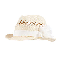 Buy John Lewis Girls' Straw Trilby Corsage Hat, Natural Online at johnlewis.com