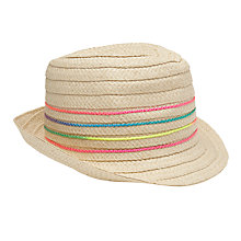 Buy John Lewis Children's Neon Trilby Hat, Natural Online at johnlewis.com