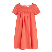 Buy John Lewis Girls' Broderie Yoke Dress, Red Online at johnlewis.com