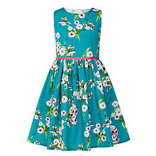 Buy John Lewis Girls' Floral Print Prom Dress, Aqua Online at johnlewis.com