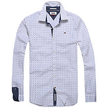 Buy Hilfiger Denim Long Sleeve Print Shirt, Classic White/Navy Online at johnlewis.com