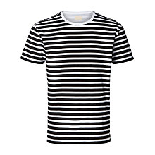 Buy Selected Homme Stripe T-shirt, White/Black Online at johnlewis.com
