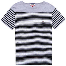 Buy Hilfiger Denim Basic Striped T-Shirt, Light Grey Heather/Navy Blazer Online at johnlewis.com