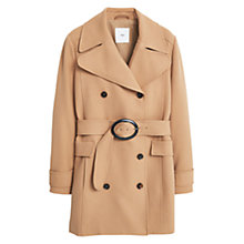 Buy Mango Double-Breasted Coat, Medium Brown Online at johnlewis.com