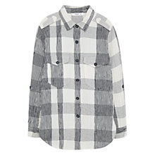 Buy Mango Textured Cotton-Blend Check Shirt, Light Beige Online at johnlewis.com