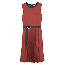 Buy Mango Belt Pleated Dress, Dark Brown Online at johnlewis.com