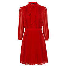 Buy Karen Millen Ruffled Lace Dress, Red Online at johnlewis.com