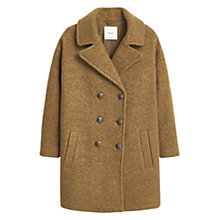 Buy Mango Buttoned Cocoon Coat, Beige/Khaki Online at johnlewis.com