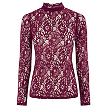 Buy Oasis Lace High Neck Top, Rich Red Online at johnlewis.com